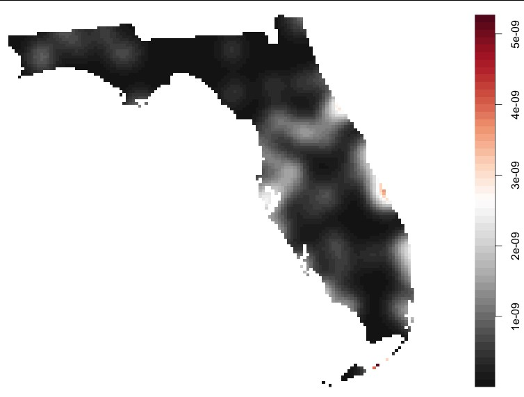 Figure 3: There are several accident hotspots in Central Florida and along the eastern coastline of Florida.